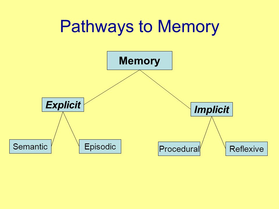 Pathways to Memory Explicit SemanticEpisodic Implicit Memory ProceduralReflexive