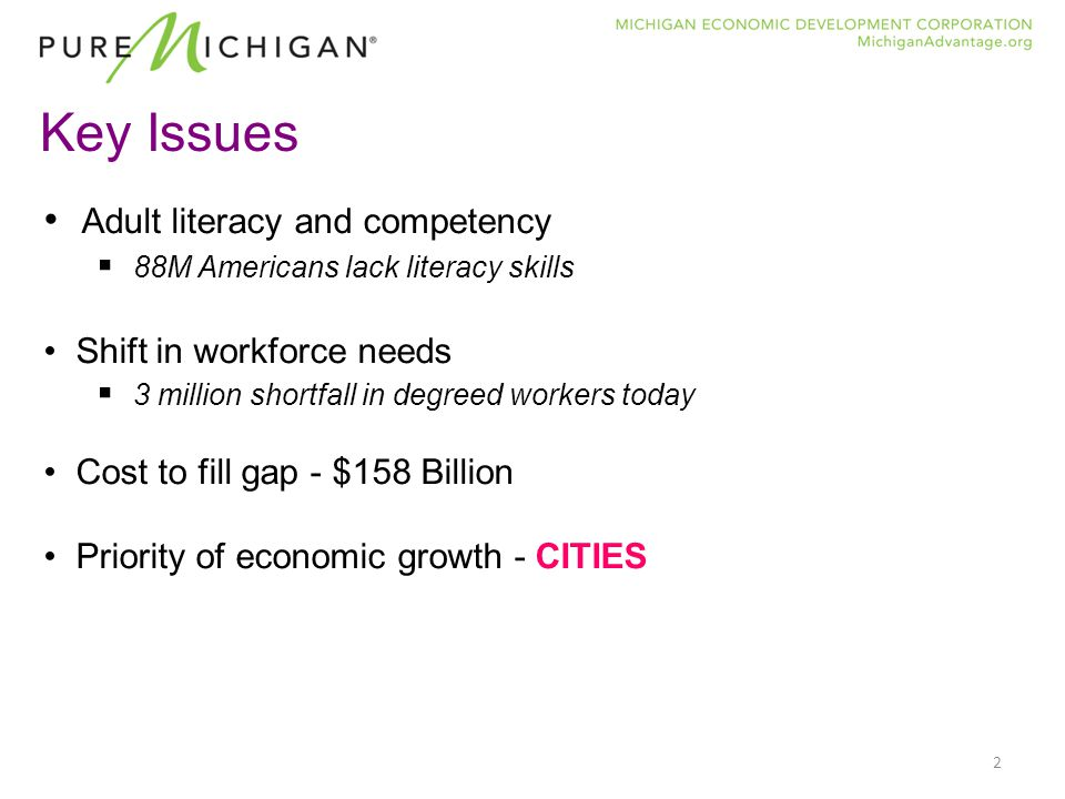 2 Key Issues Adult literacy and competency  88M Americans lack literacy skills Shift in workforce needs  3 million shortfall in degreed workers today Cost to fill gap - $158 Billion Priority of economic growth - CITIES