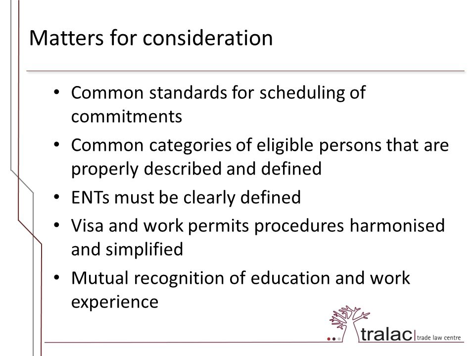 Matters for consideration Common standards for scheduling of commitments Common categories of eligible persons that are properly described and defined ENTs must be clearly defined Visa and work permits procedures harmonised and simplified Mutual recognition of education and work experience