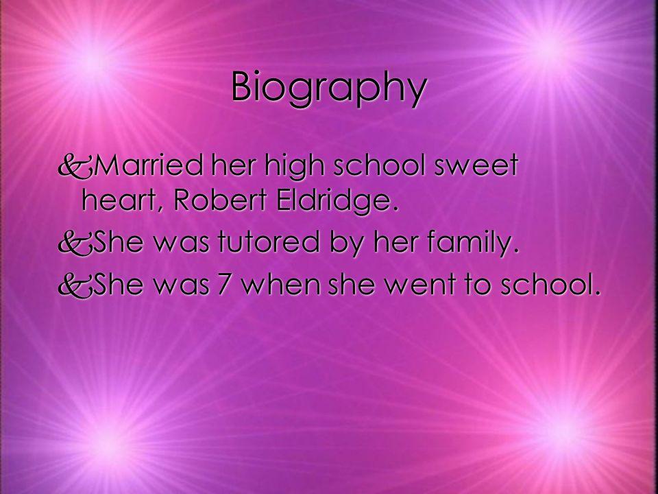 Biography kMarried her high school sweet heart, Robert Eldridge.