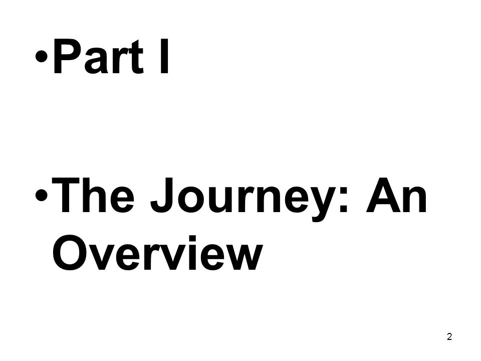 Part I The Journey: An Overview 2