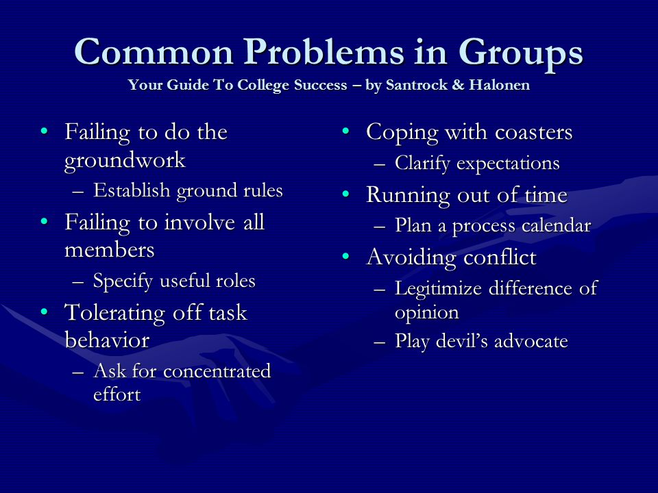 Common Problems in Groups Your Guide To College Success – by Santrock & Halonen Failing to do the groundworkFailing to do the groundwork –Establish ground rules Failing to involve all membersFailing to involve all members –Specify useful roles Tolerating off task behaviorTolerating off task behavior –Ask for concentrated effort Coping with coasters –Clarify expectations Running out of time –Plan a process calendar Avoiding conflict –Legitimize difference of opinion –Play devil's advocate