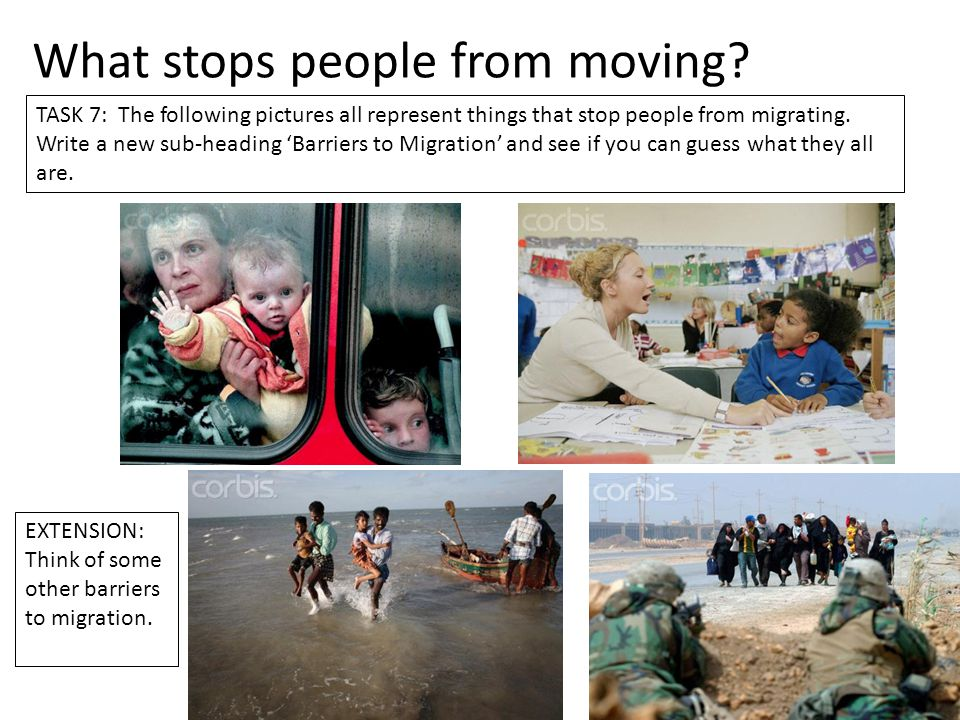 What stops people from moving? TASK 7: The following pictures all represent things that stop people from migrating. Write a new sub-heading 'Barriers