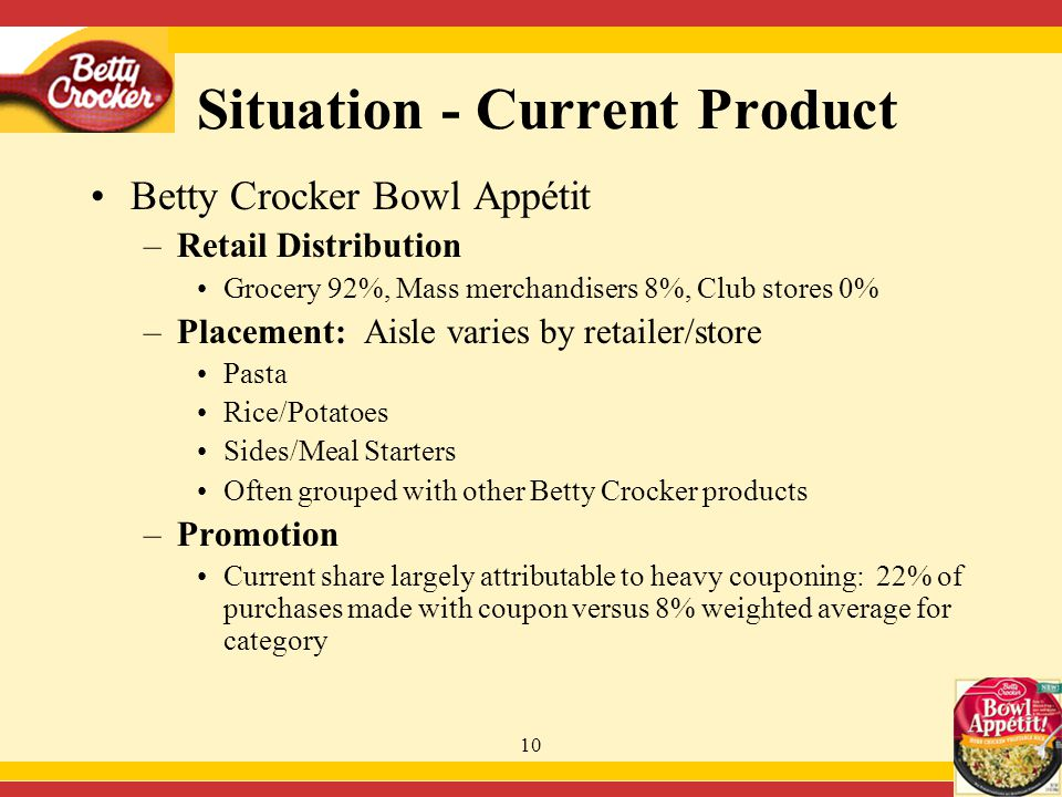 10 Situation - Current Product Betty Crocker Bowl Appétit –Retail Distribution Grocery 92%, Mass merchandisers 8%, Club stores 0% –Placement: Aisle varies by retailer/store Pasta Rice/Potatoes Sides/Meal Starters Often grouped with other Betty Crocker products –Promotion Current share largely attributable to heavy couponing: 22% of purchases made with coupon versus 8% weighted average for category