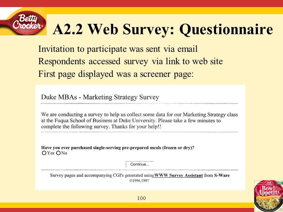 100 Invitation to participate was sent via email Respondents accessed survey via link to web site First page displayed was a screener page: A2.2 Web Survey: Questionnaire