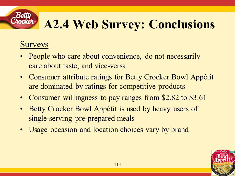 114 Surveys People who care about convenience, do not necessarily care about taste, and vice-versa Consumer attribute ratings for Betty Crocker Bowl Appétit are dominated by ratings for competitive products Consumer willingness to pay ranges from $2.82 to $3.61 Betty Crocker Bowl Appétit is used by heavy users of single-serving pre-prepared meals Usage occasion and location choices vary by brand A2.4 Web Survey: Conclusions