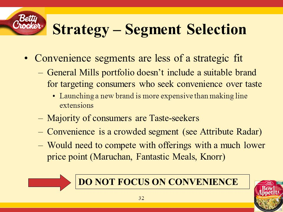 32 Convenience segments are less of a strategic fit –General Mills portfolio doesn't include a suitable brand for targeting consumers who seek convenience over taste Launching a new brand is more expensive than making line extensions –Majority of consumers are Taste-seekers –Convenience is a crowded segment (see Attribute Radar) –Would need to compete with offerings with a much lower price point (Maruchan, Fantastic Meals, Knorr) DO NOT FOCUS ON CONVENIENCE Strategy – Segment Selection