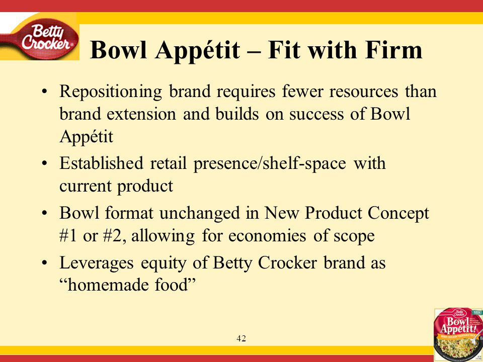 42 Repositioning brand requires fewer resources than brand extension and builds on success of Bowl Appétit Established retail presence/shelf-space with current product Bowl format unchanged in New Product Concept #1 or #2, allowing for economies of scope Leverages equity of Betty Crocker brand as homemade food Bowl Appétit – Fit with Firm