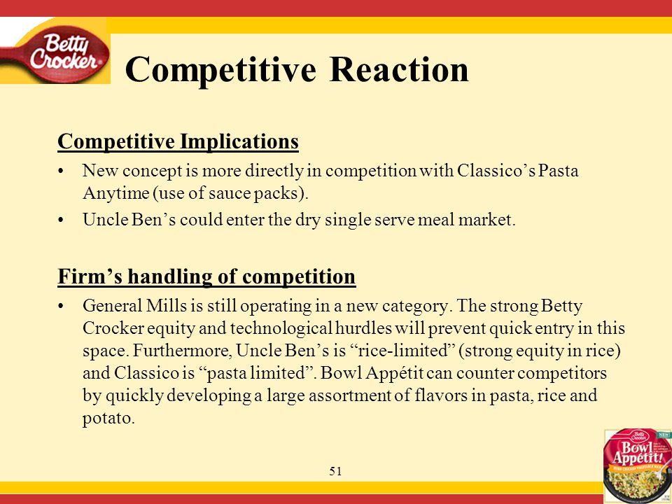 51 Competitive Implications New concept is more directly in competition with Classico's Pasta Anytime (use of sauce packs).
