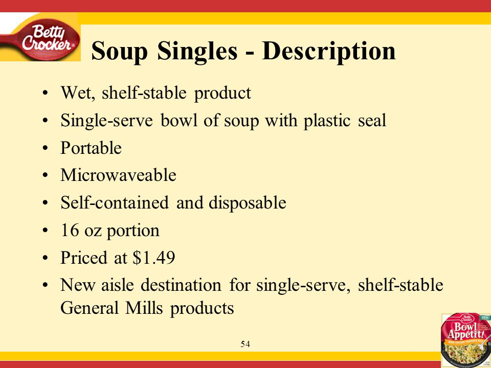54 Wet, shelf-stable product Single-serve bowl of soup with plastic seal Portable Microwaveable Self-contained and disposable 16 oz portion Priced at $1.49 New aisle destination for single-serve, shelf-stable General Mills products Soup Singles - Description