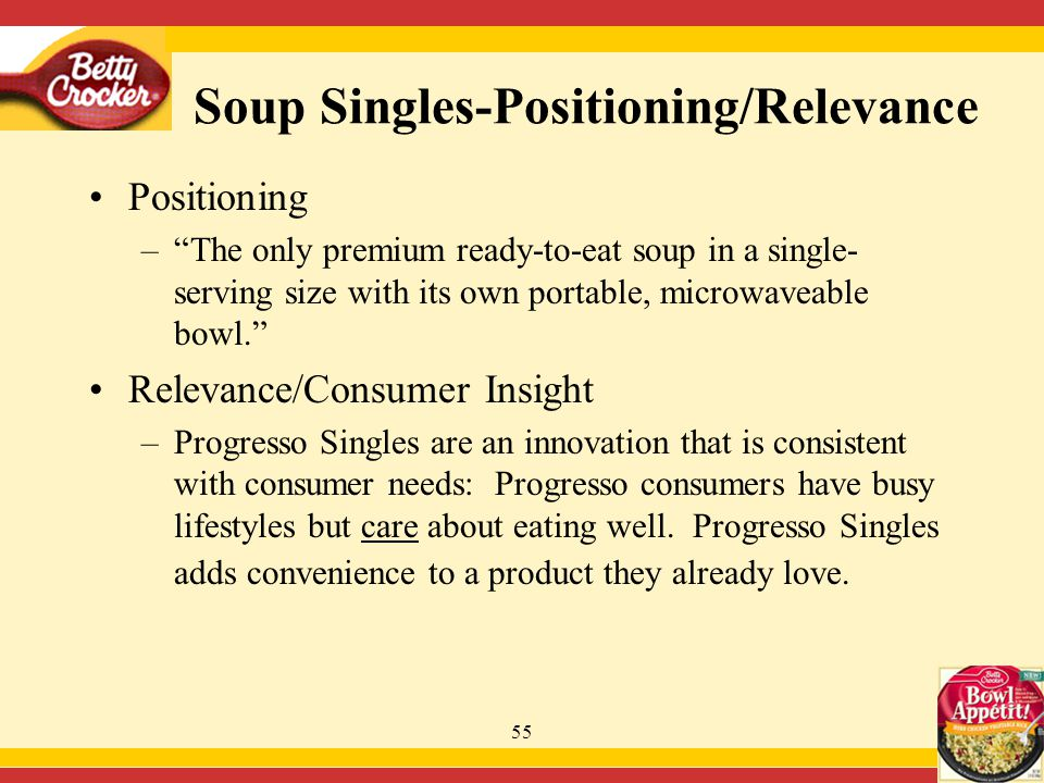 55 Soup Singles-Positioning/Relevance Positioning – The only premium ready-to-eat soup in a single- serving size with its own portable, microwaveable bowl. Relevance/Consumer Insight –Progresso Singles are an innovation that is consistent with consumer needs: Progresso consumers have busy lifestyles but care about eating well.