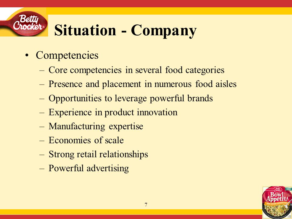 8 Situation - Company Portfolio Management –Opportunity for Betty Crocker Bowl Appétit to acheive robust volume growth in expanding category –General Mills has opportunity for category leadership and dominant share position –General Mills can achieve long-term growth potential in this category through one or combination of: Incubation of current product Creation of new products Acquisition of similar products