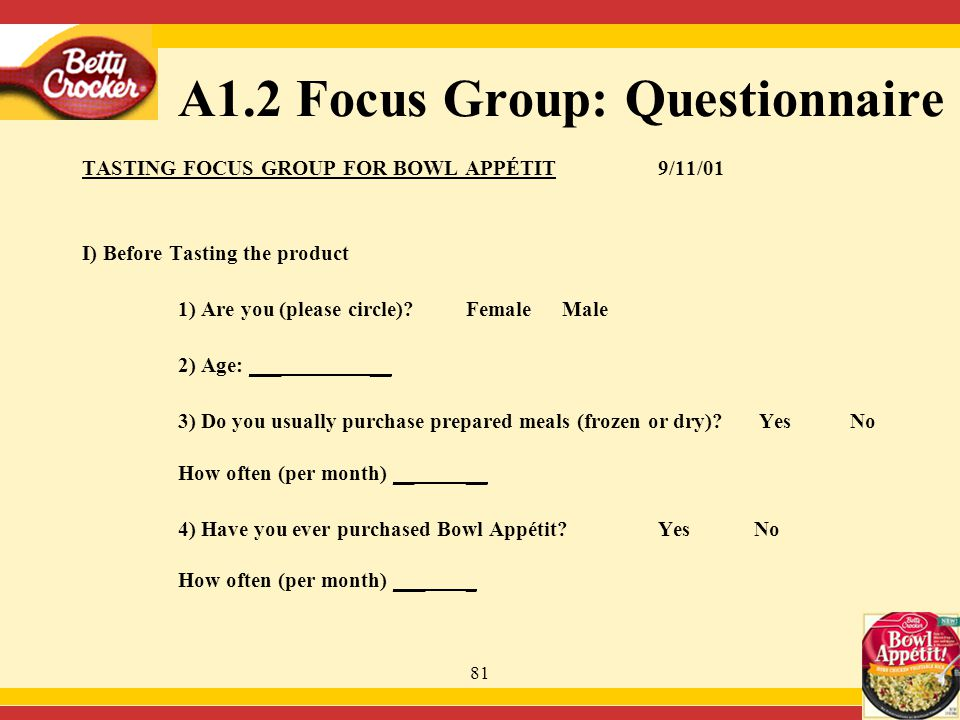 81 A1.2 Focus Group: Questionnaire TASTING FOCUS GROUP FOR BOWL APPÉTIT9/11/01 I) Before Tasting the product 1) Are you (please circle).