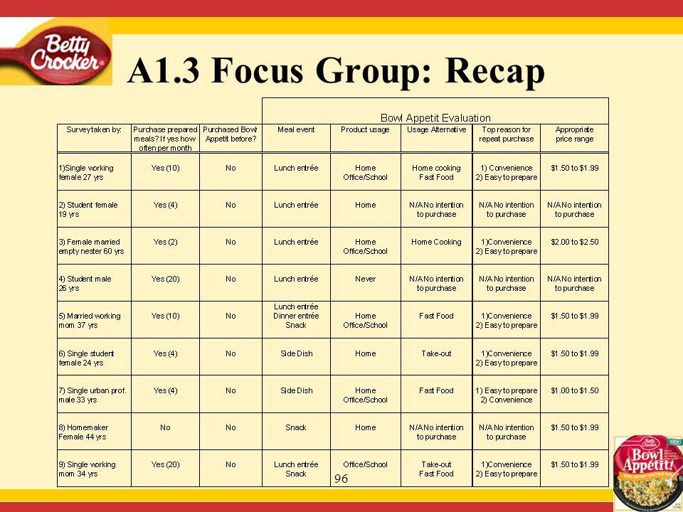 96 A1.3 Focus Group: Recap