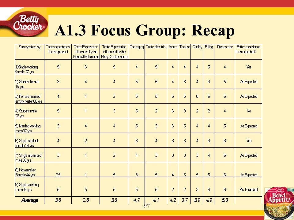 97 A1.3 Focus Group: Recap