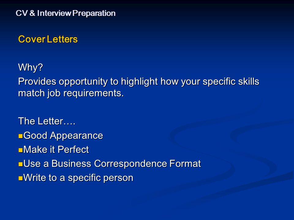 CV & Interview Preparation Cover Letters Why.