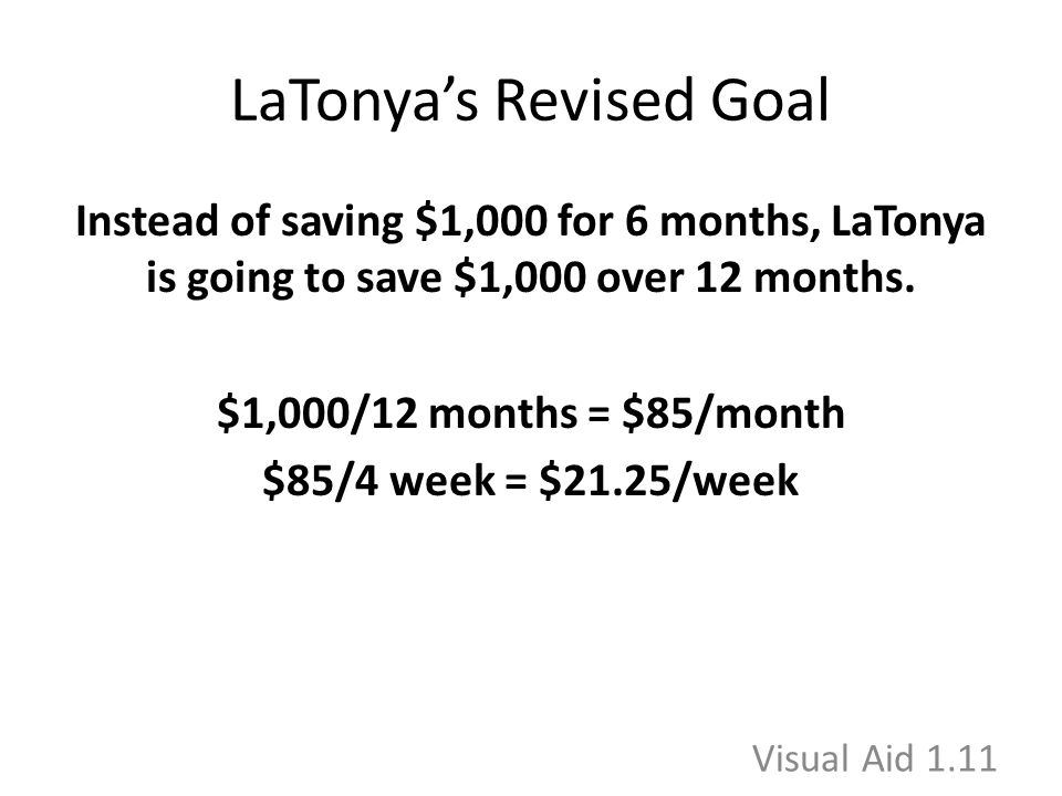 LaTonya's Revised Goal Instead of saving $1,000 for 6 months, LaTonya is going to save $1,000 over 12 months.