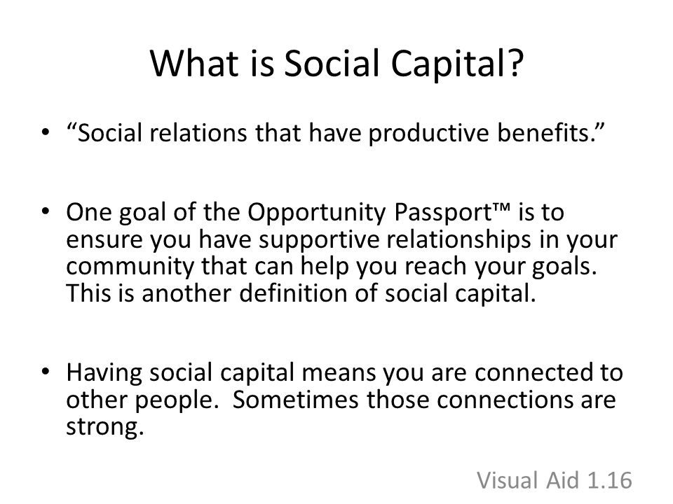 "What is Social Capital? ""Social relations that have productive benefits."" One goal of the Opportunity Passport™ is to ensure you have supportive relat"