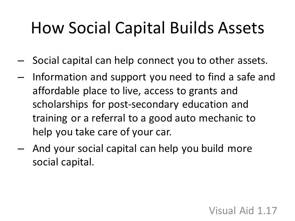 How Social Capital Builds Assets – Social capital can help connect you to other assets. – Information and support you need to find a safe and affordab