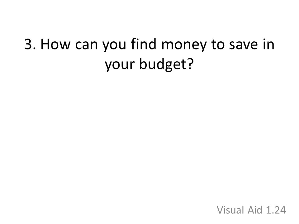 3. How can you find money to save in your budget? Visual Aid 1.24