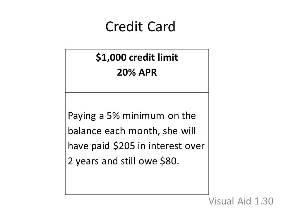 Credit Card $1,000 credit limit 20% APR Paying a 5% minimum on the balance each month, she will have paid $205 in interest over 2 years and still owe $80.