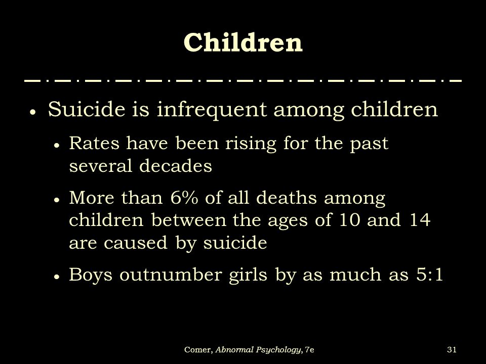 31Comer, Abnormal Psychology, 7e Children  Suicide is infrequent among children  Rates have been rising for the past several decades  More than 6%