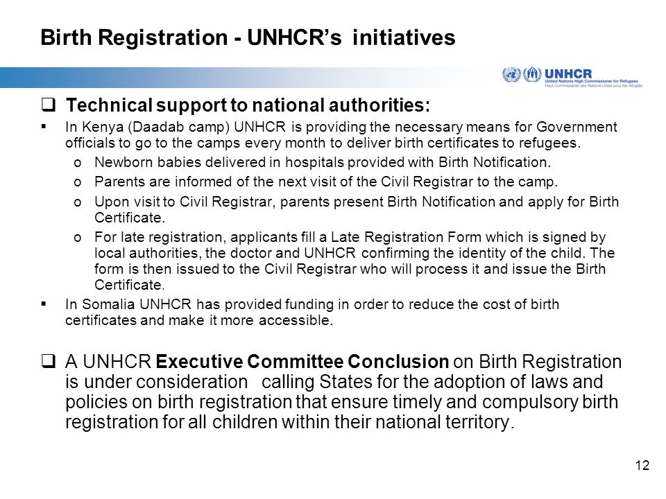 12 Birth Registration - UNHCR's initiatives  Technical support to national authorities:  In Kenya (Daadab camp) UNHCR is providing the necessary means for Government officials to go to the camps every month to deliver birth certificates to refugees.