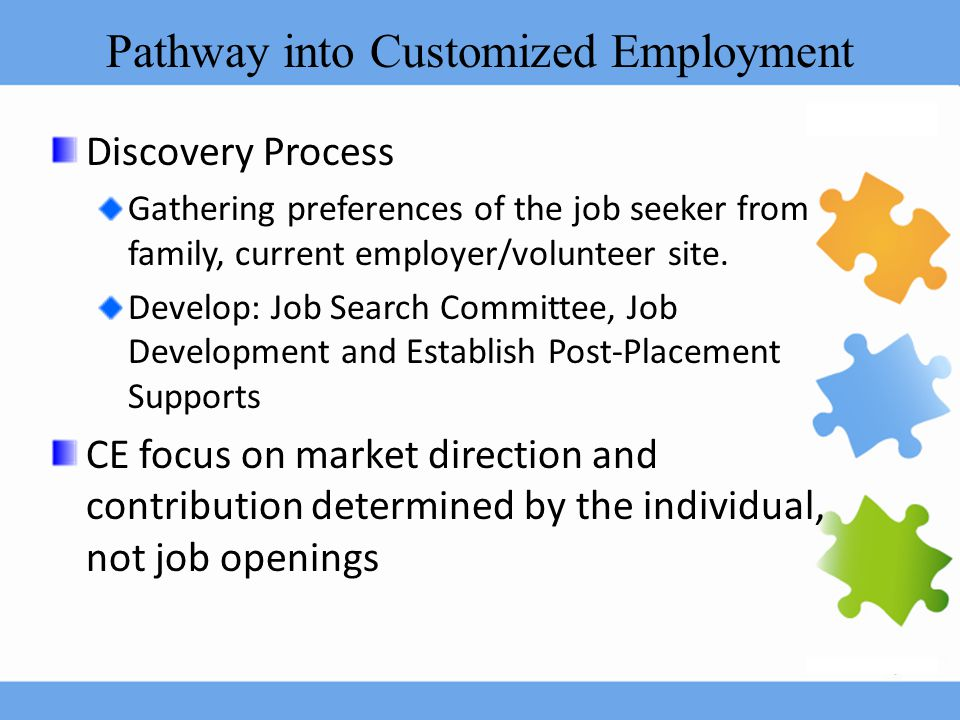 Pathway into Customized Employment Discovery Process Gathering preferences of the job seeker from family, current employer/volunteer site. Develop: Jo