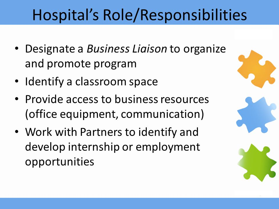 Hospital's Role/Responsibilities Designate a Business Liaison to organize and promote program Identify a classroom space Provide access to business re