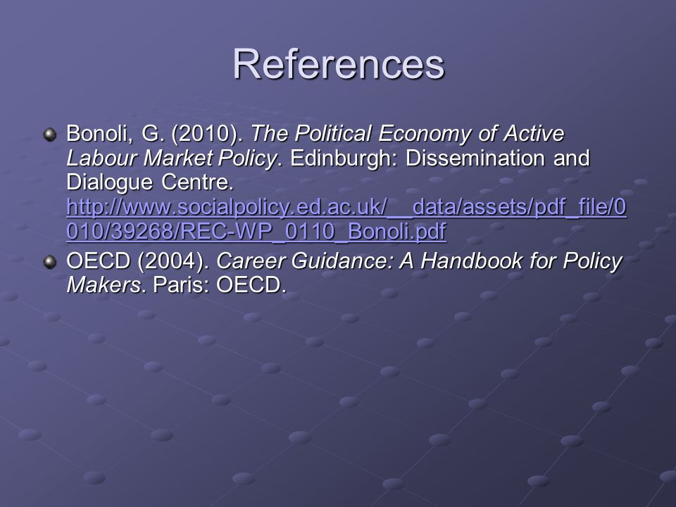 References Bonoli, G.(2010). The Political Economy of Active Labour Market Policy.