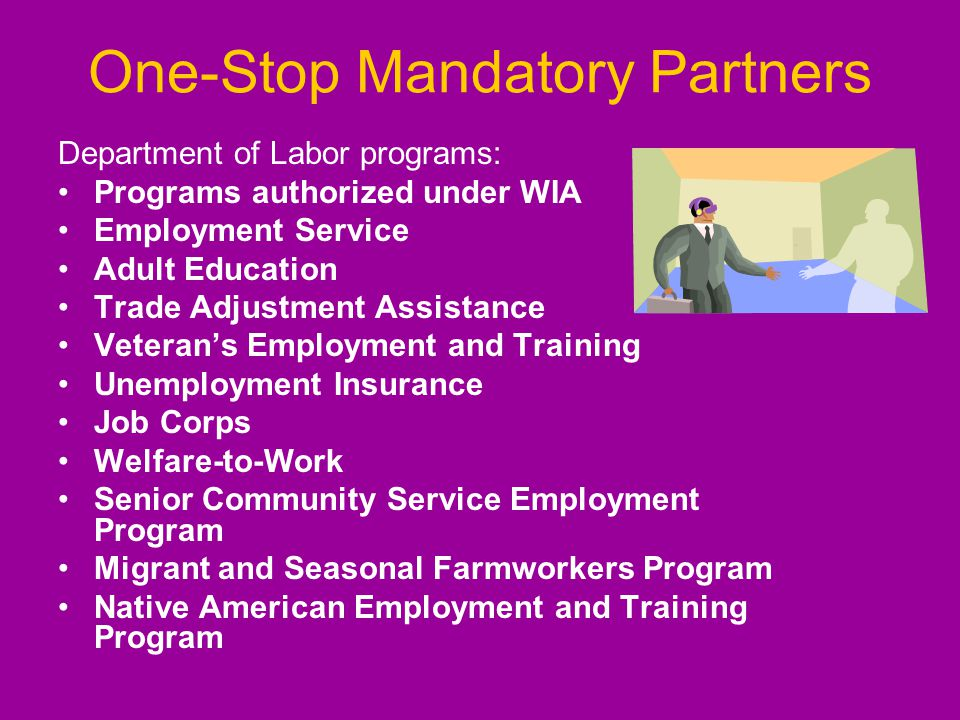One-Stop Mandatory Partners Department of Labor programs: Programs authorized under WIA Employment Service Adult Education Trade Adjustment Assistance