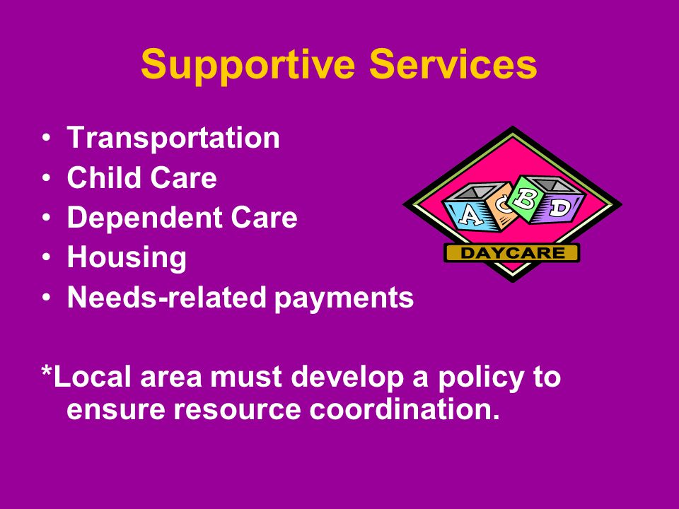 Supportive Services Transportation Child Care Dependent Care Housing Needs-related payments *Local area must develop a policy to ensure resource coordination.