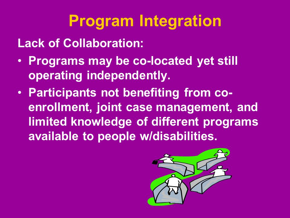 Program Integration Lack of Collaboration: Programs may be co-located yet still operating independently.