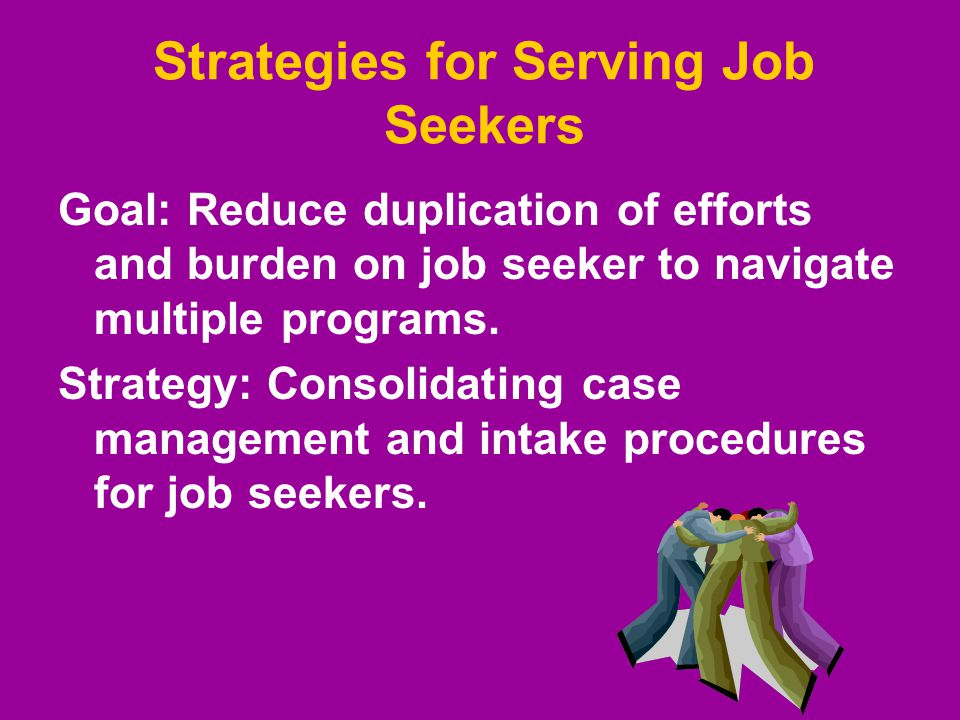Strategies for Serving Job Seekers Goal: Reduce duplication of efforts and burden on job seeker to navigate multiple programs. Strategy: Consolidating