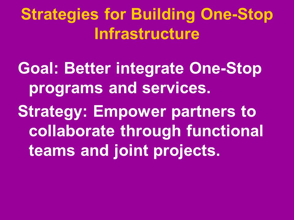 Strategies for Building One-Stop Infrastructure Goal: Better integrate One-Stop programs and services. Strategy: Empower partners to collaborate throu