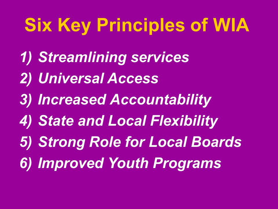 Six Key Principles of WIA 1)Streamlining services 2)Universal Access 3)Increased Accountability 4)State and Local Flexibility 5)Strong Role for Local Boards 6)Improved Youth Programs