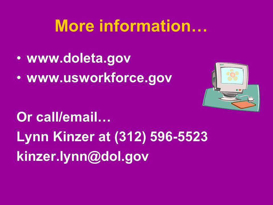 More information… www.doleta.gov www.usworkforce.gov Or call/email… Lynn Kinzer at (312) 596-5523 kinzer.lynn@dol.gov