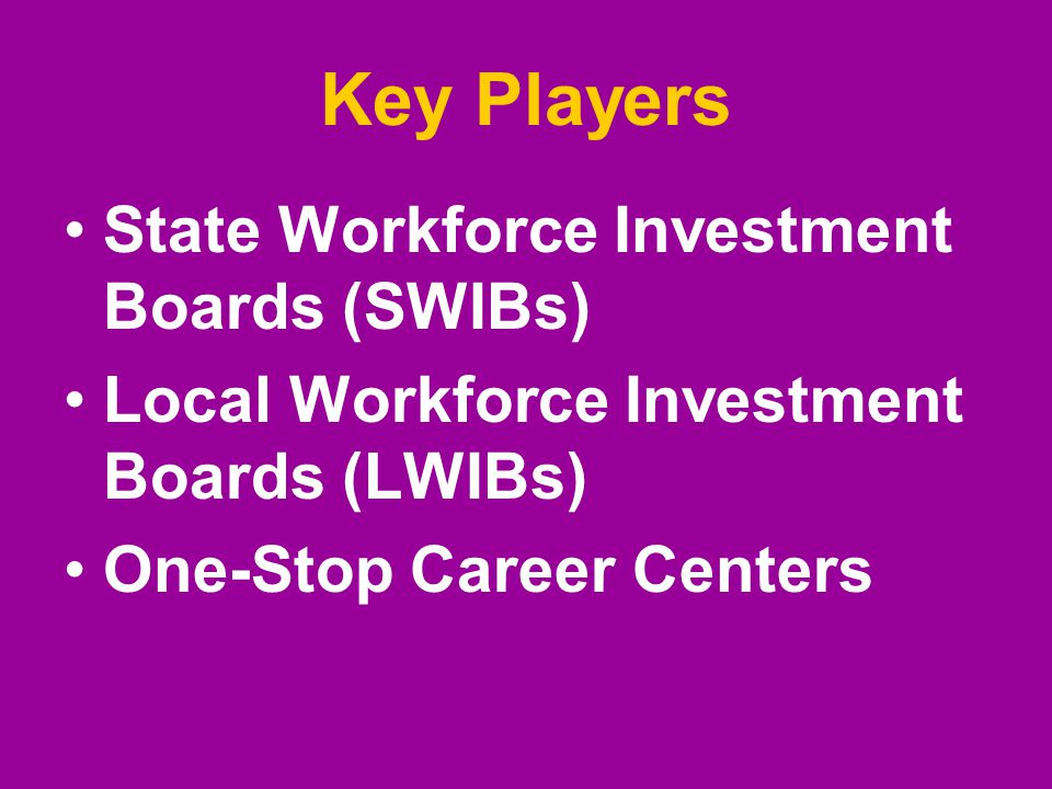 Key Players State Workforce Investment Boards (SWIBs) Local Workforce Investment Boards (LWIBs) One-Stop Career Centers