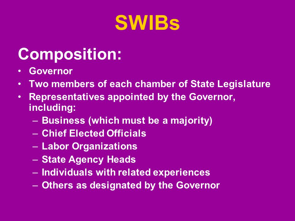 SWIBs Composition: Governor Two members of each chamber of State Legislature Representatives appointed by the Governor, including: –Business (which must be a majority) –Chief Elected Officials –Labor Organizations –State Agency Heads –Individuals with related experiences –Others as designated by the Governor