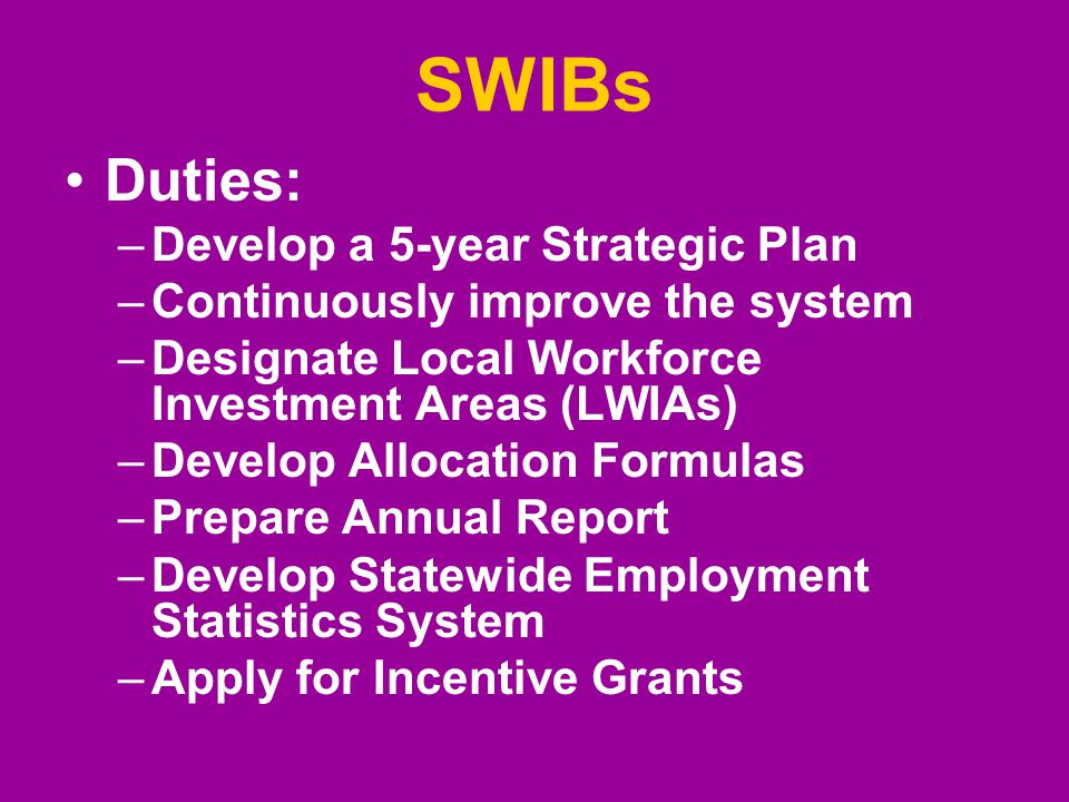 SWIBs Duties: –Develop a 5-year Strategic Plan –Continuously improve the system –Designate Local Workforce Investment Areas (LWIAs) –Develop Allocatio