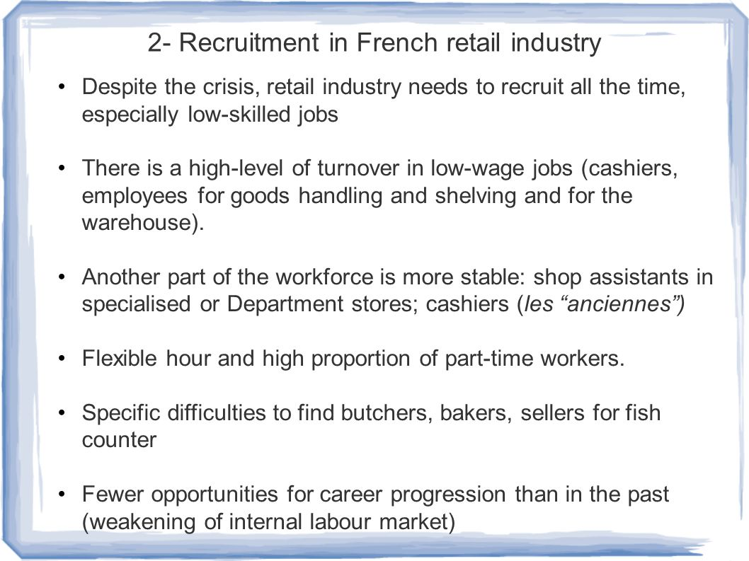 Job-finding channels in France (2011) Direct application Social networks Job advertise ment.