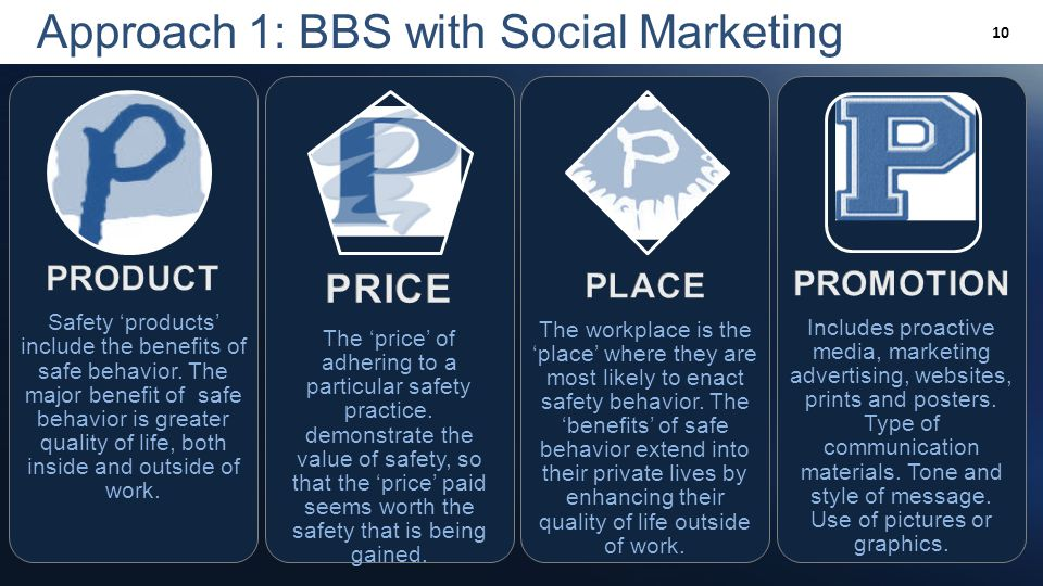 Slide 10 Approach 1: BBS with Social Marketing 10