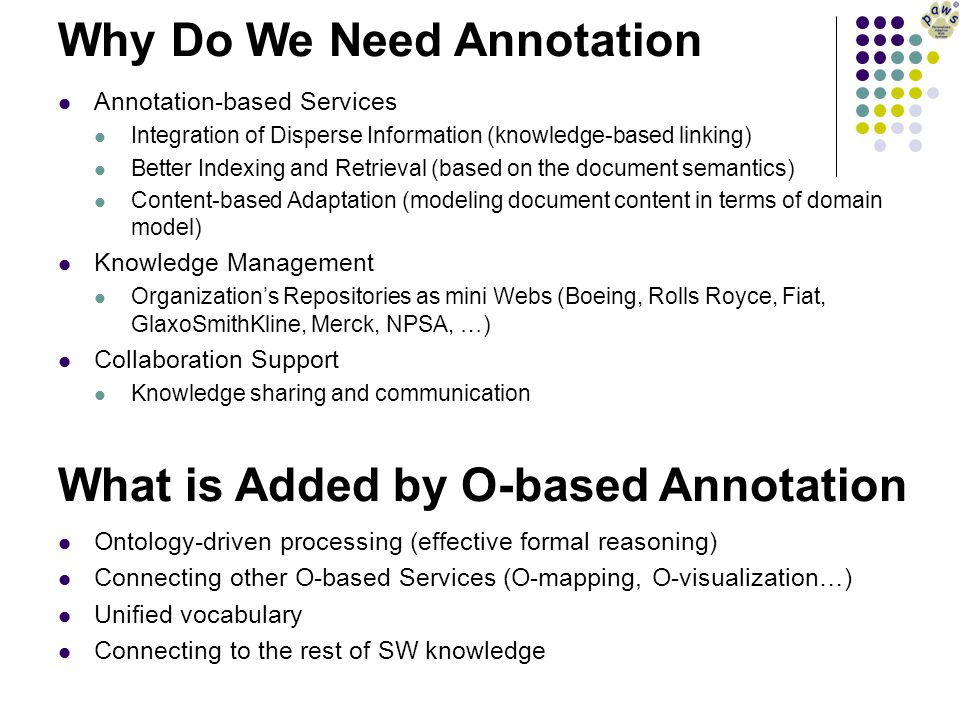 Why Do We Need Annotation Annotation-based Services Integration of Disperse Information (knowledge-based linking) Better Indexing and Retrieval (based
