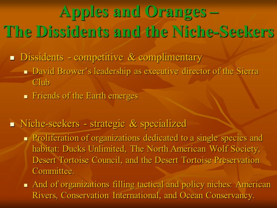 Dissidents - competitive & complimentary Dissidents - competitive & complimentary David Brower's leadership as executive director of the Sierra Club David Brower's leadership as executive director of the Sierra Club Friends of the Earth emerges Friends of the Earth emerges Niche-seekers - strategic & specialized Niche-seekers - strategic & specialized Proliferation of organizations dedicated to a single species and habitat: Ducks Unlimited, The North American Wolf Society, Desert Tortoise Council, and the Desert Tortoise Preservation Committee.