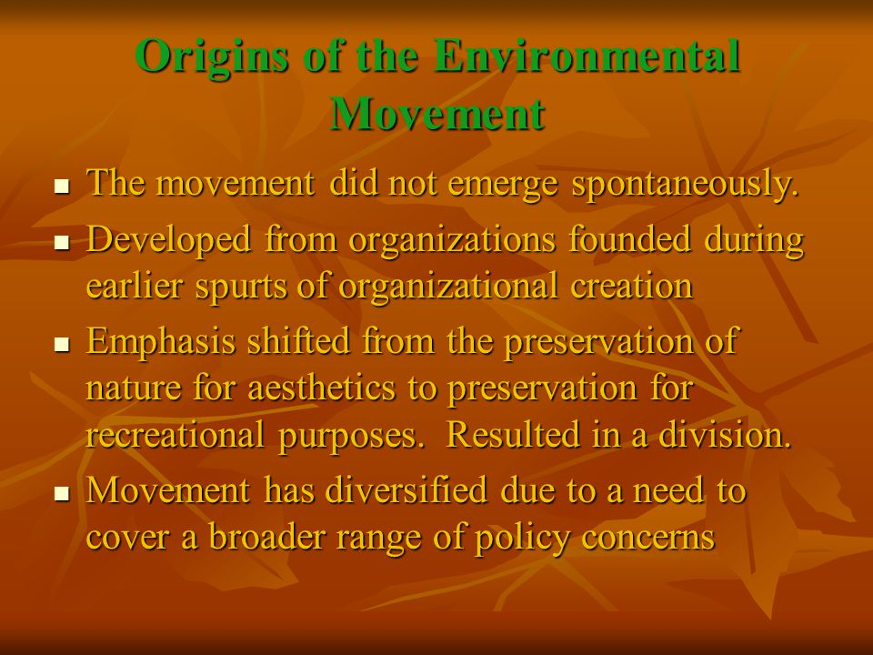A New Vision of Advocacy A new environmental ethos contributes to group specializing.