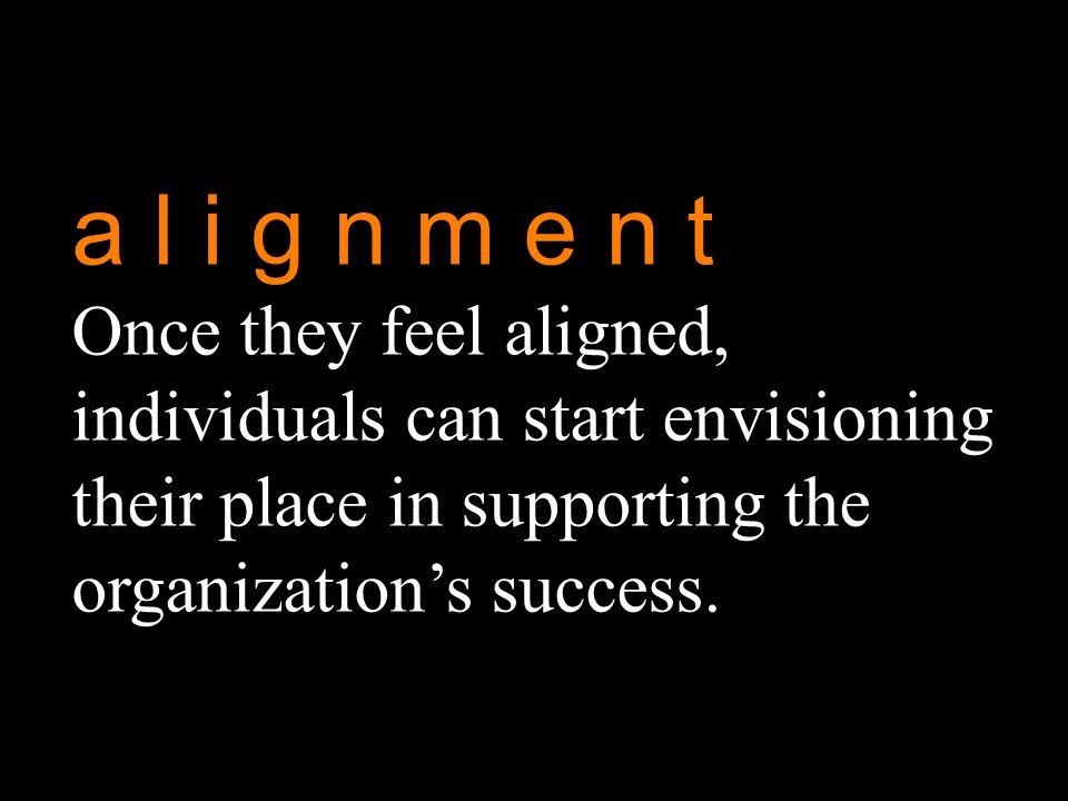 a l i g n m e n t Once they feel aligned, individuals can start envisioning their place in supporting the organization's success.