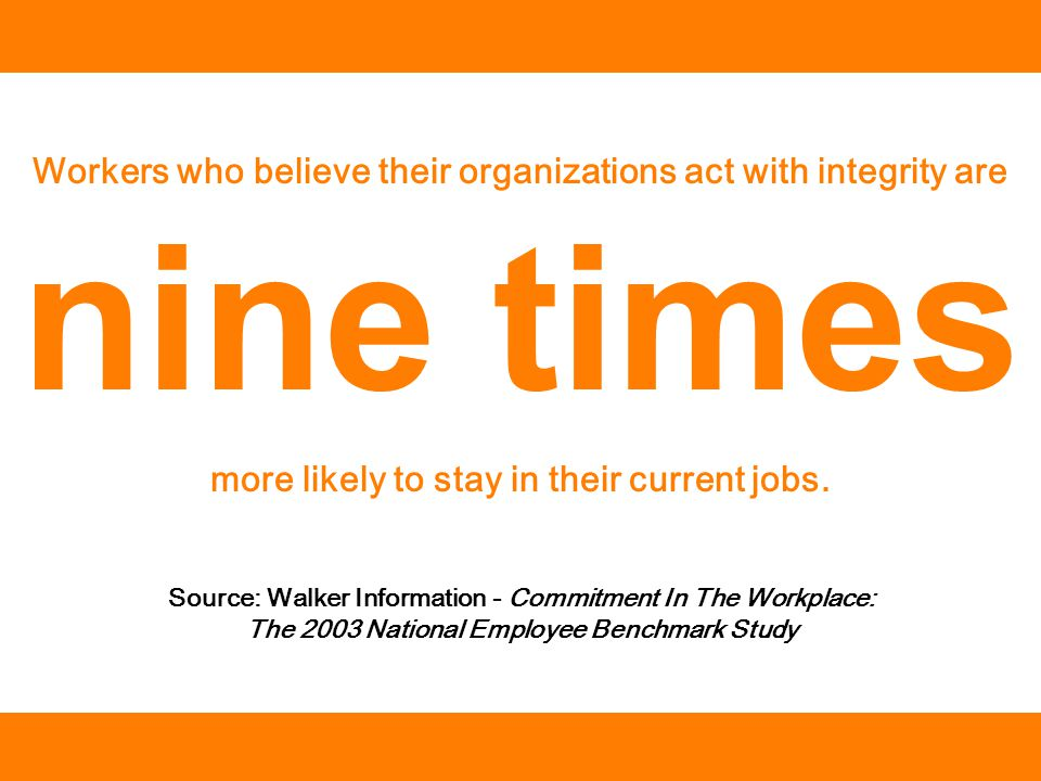 Source: Walker Information - Commitment In The Workplace: The 2003 National Employee Benchmark Study Workers who believe their organizations act with