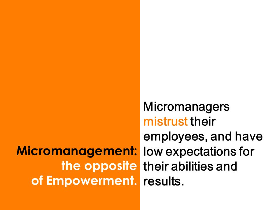 Micromanagement: the opposite of Empowerment.