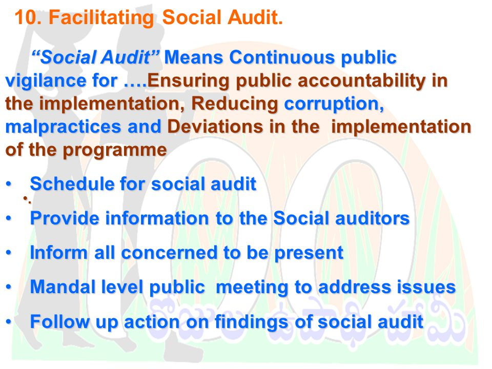 DWMA-Anantapur 10. Facilitating Social Audit.