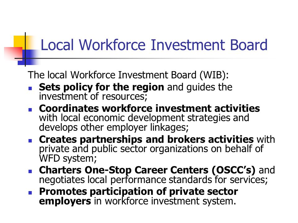 Local Workforce Investment Board The local Workforce Investment Board (WIB): Sets policy for the region and guides the investment of resources; Coordi